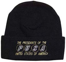 black pusa wooly hat with pusa logo