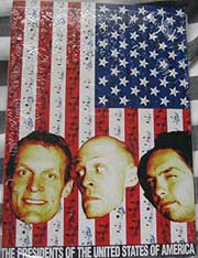 usa flag with band member faces