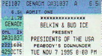 7th november 1995 ticket stub